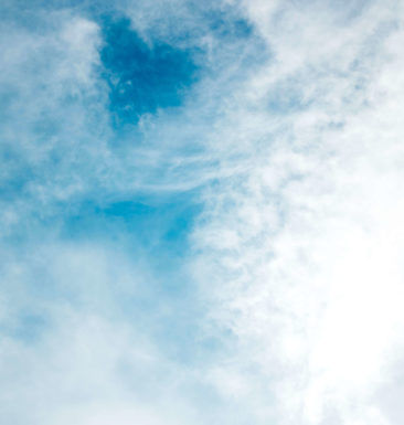 Images of clouds and blue sky on Jump's patio in Toronto
