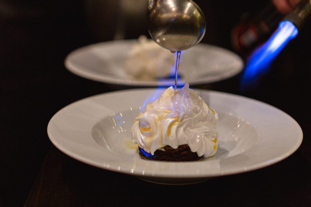 Peanut butter and chocolate baked Alaska