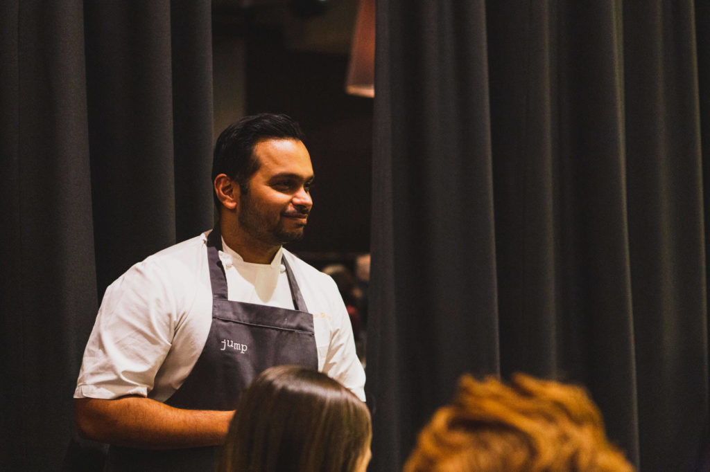 Chef Miheer talking to guests