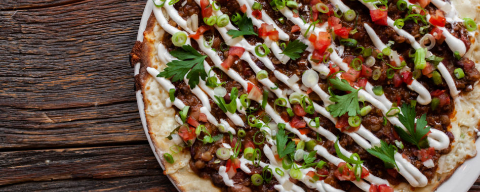 lentil chili pizza