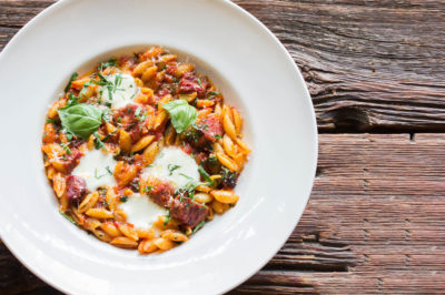 Bannock's Winterlicious Backed Cavatelli against wooden background