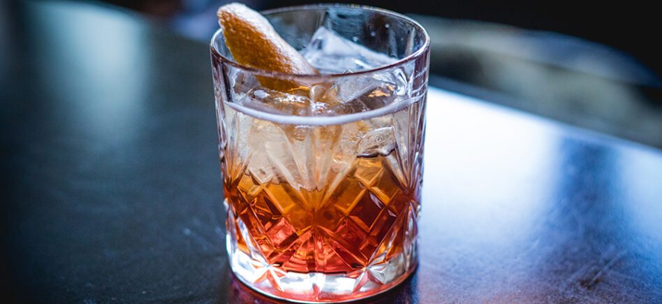 Classic negroni cockail on the bar at Biff's Bistro.