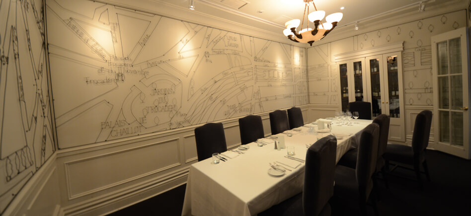 Small grey private dining room at Biff's Bistro in Toronto.