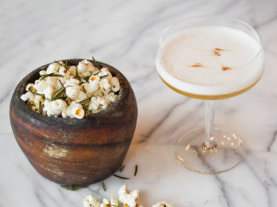 Popcorn and cocktail at Luma