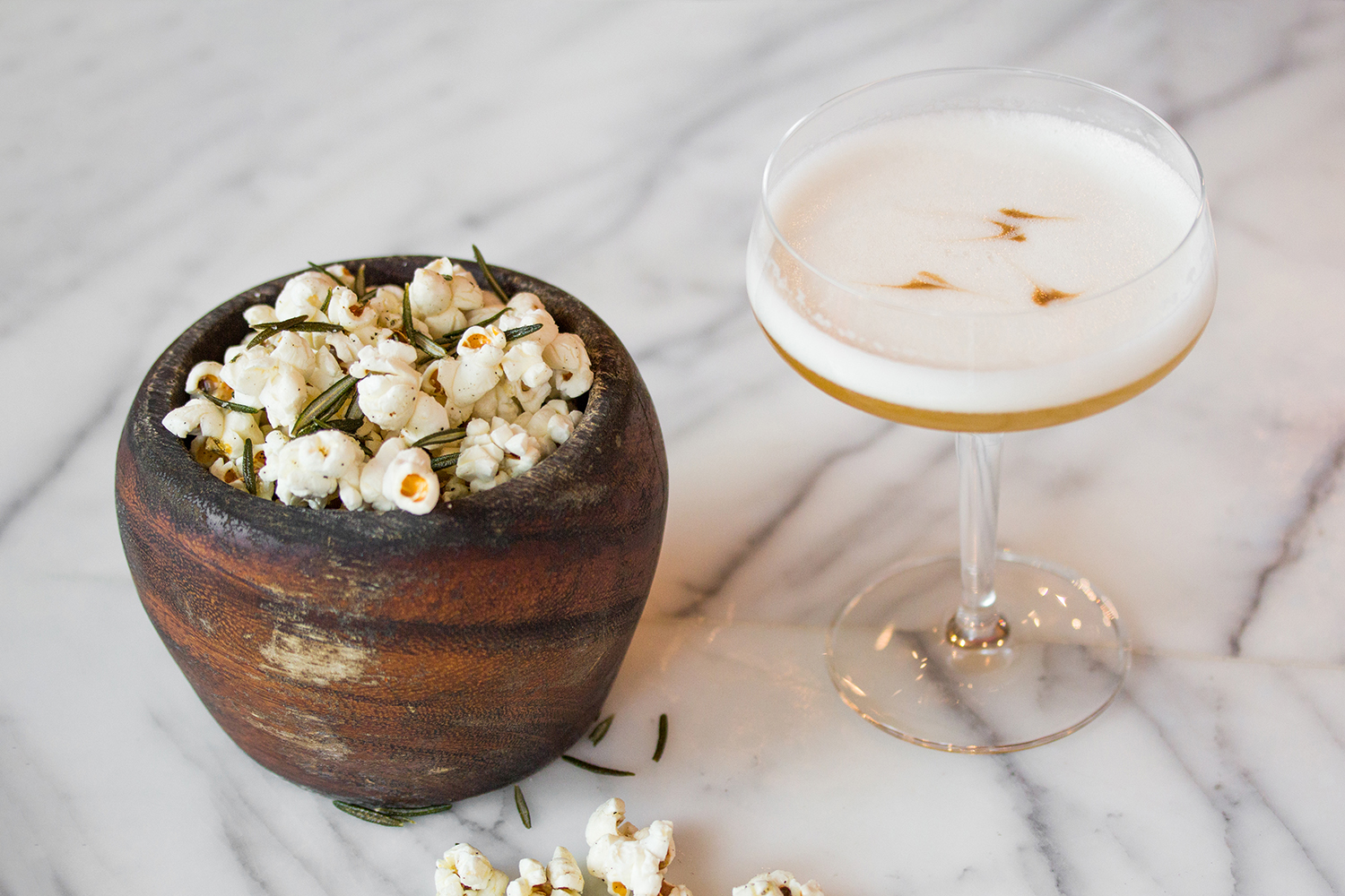 Popcorn and cocktail at Luma