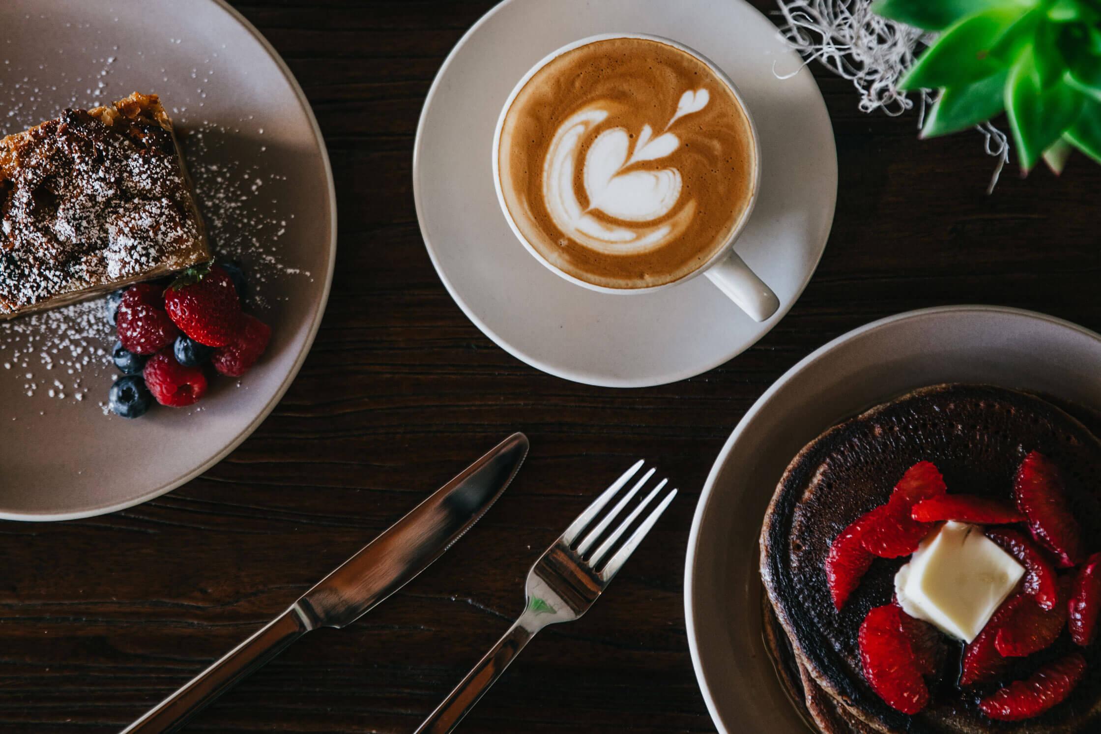 LAtte, pancakes and berries for Luma Magic Brunch