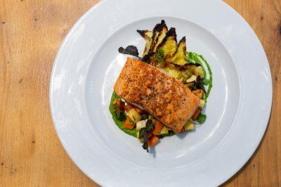 Seared salmon entrée at Canteen for Winterlicious Toronto