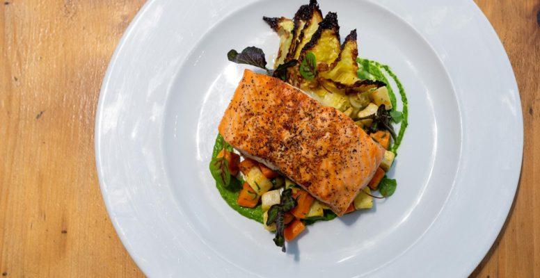 Seared salmon entrée at Canteen for Winterlicious Toronto