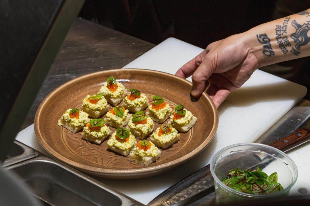 Trout egg salad sandwich canapés