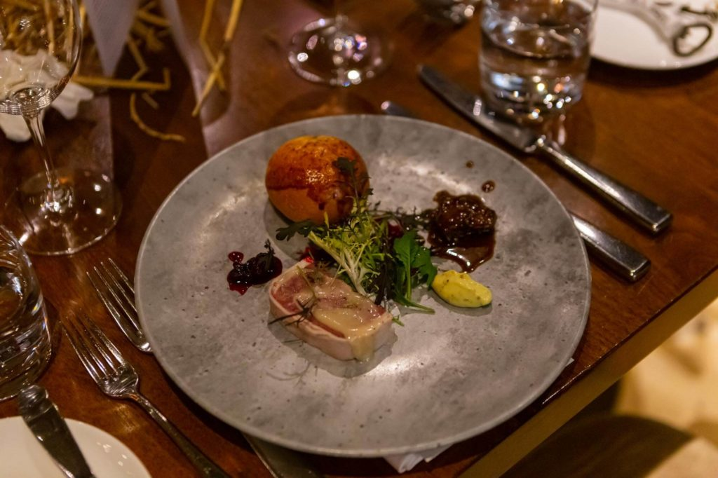 Chef Horne's dish on table