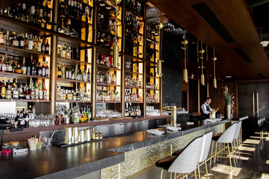 Newly renovated bar at Canoe restaurant downtown Toronto.