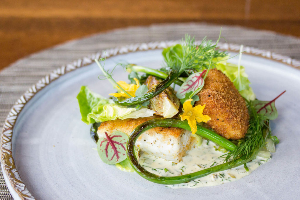 shake + bake, spice-crusted halibut, crispy cheek, buttered lettuce + warm tartar sauce.