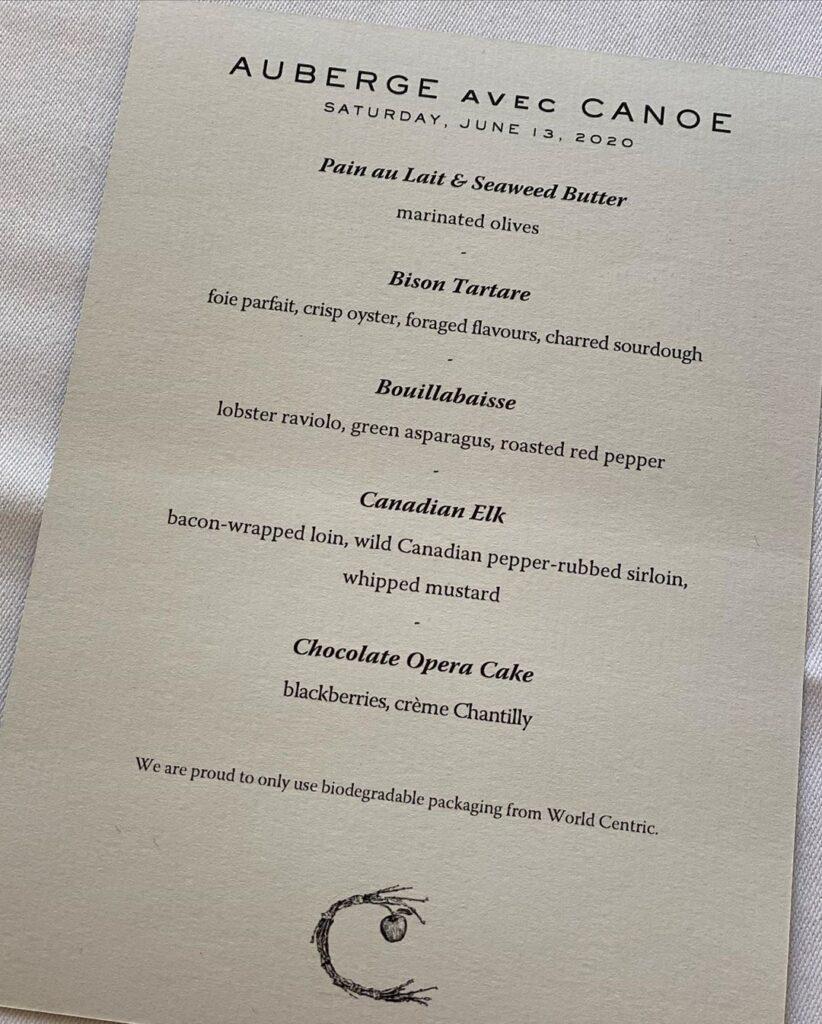Auberge avec Canoe menu