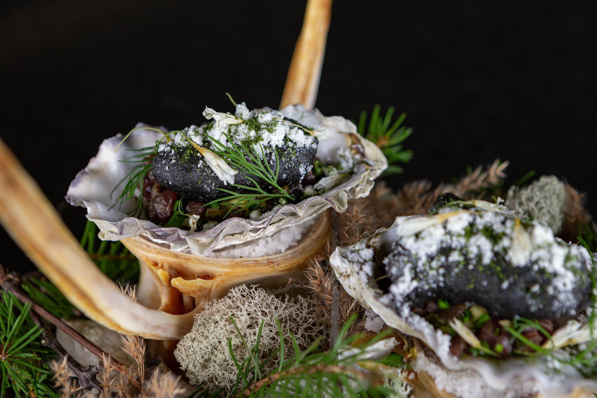 Canoe Restaurant tasting menu dish - oyster and bison tartare