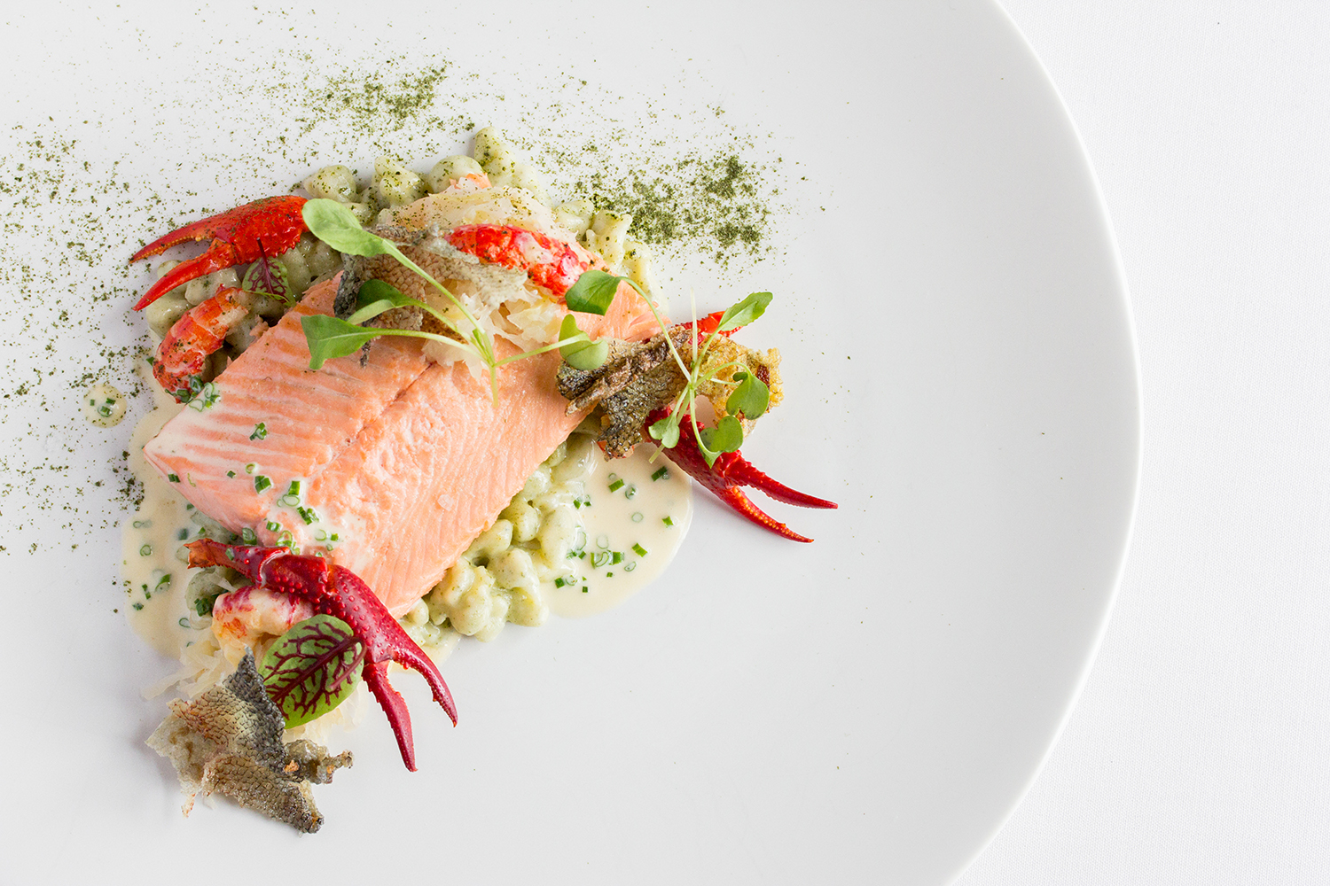 Taste Alsace Trout and Cabbage Main on White Plate at Auberge du Pommier