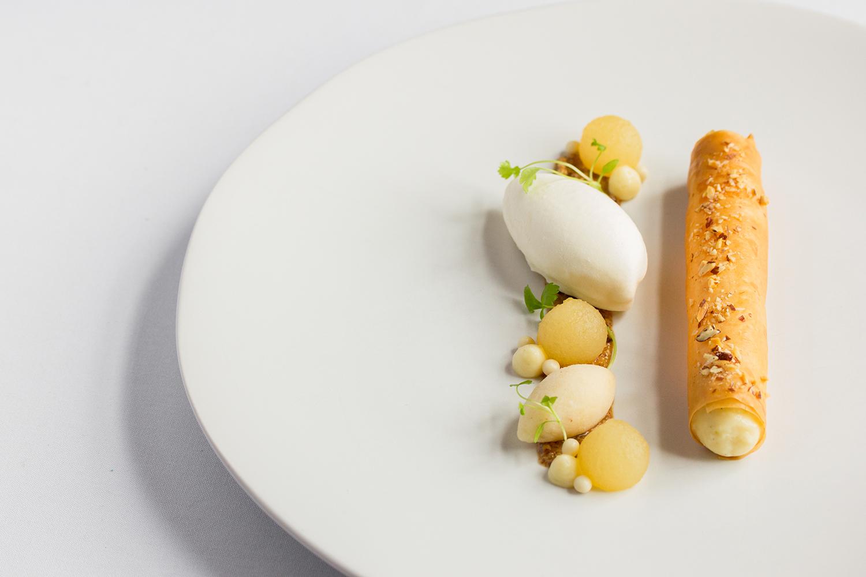 Taste Alsace Strudel Dessert on White Plate at Auberge du Pommier