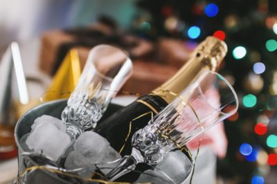 Bucket of Champagne During Holiday Season