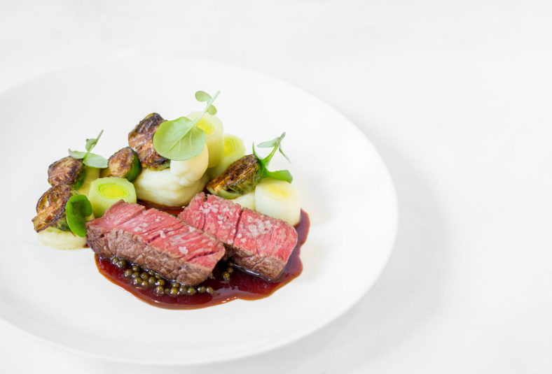 Winterlicious beef dish on white plate