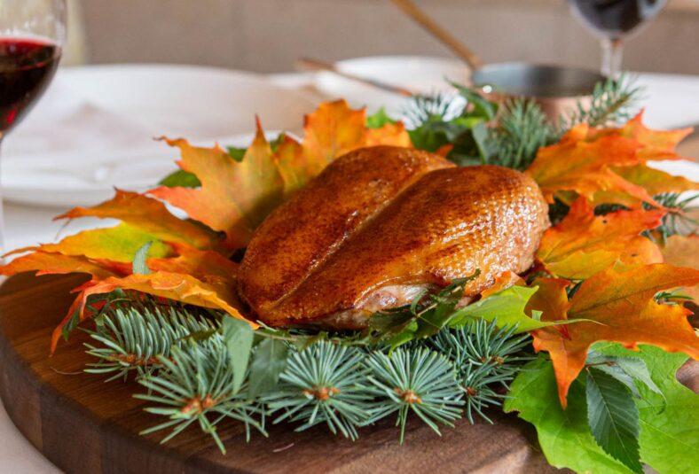 Thanksgiving duck on a platter