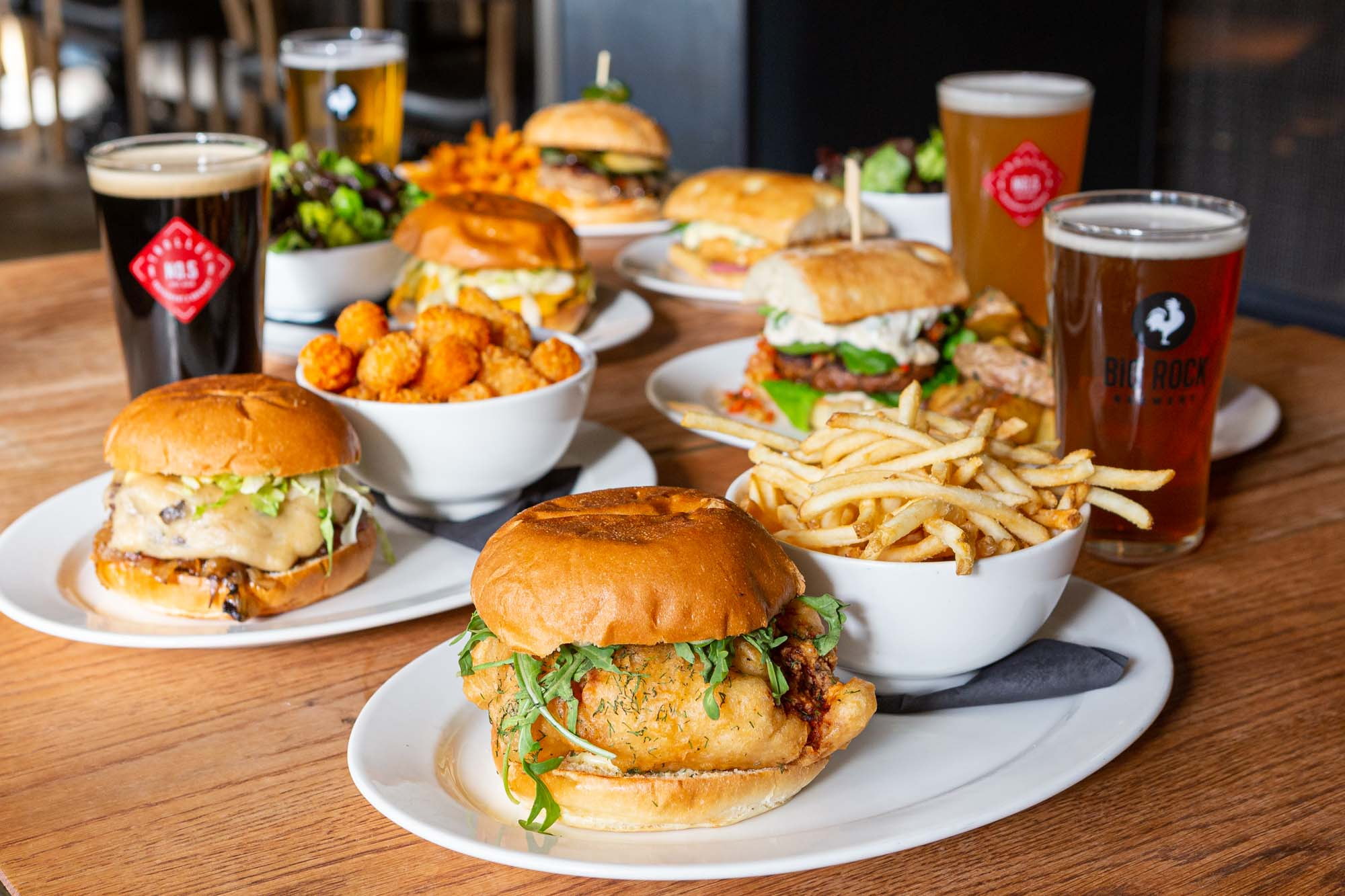Table of Burger Fest 2020 features and Trolley 5 pints
