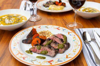 dijon-marinated flank steak dinner