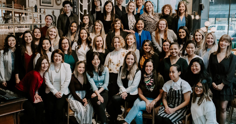 A photograph of the many talented women who work for O&B taken at Bar LaLa