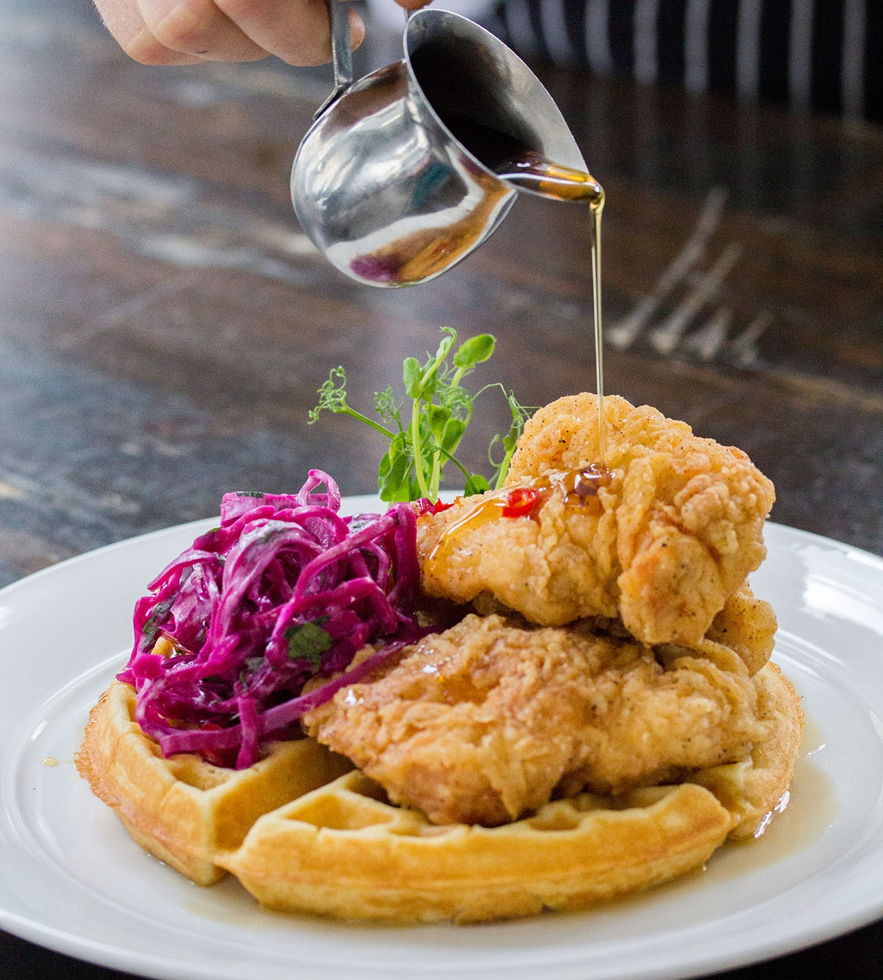 O&B Café Grill Fried Chicken and Waffles