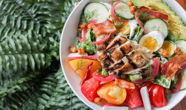 Warm grilled chicken cobb salad at O&B Bayview Village