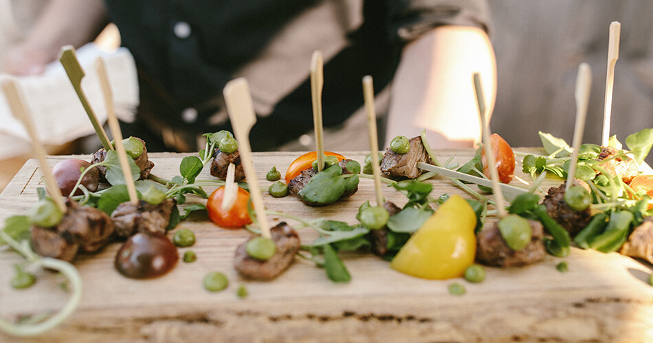 Beef Canapes being served by O&B Catering
