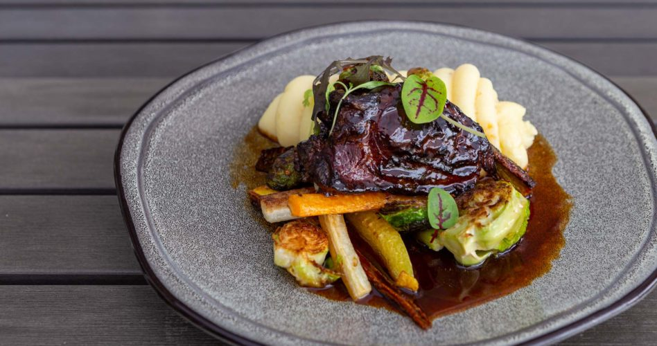 Braised beef cheek, spun Yukon Gold potatoes, heirloom carrots, Brussels sprouts, sticky gravy