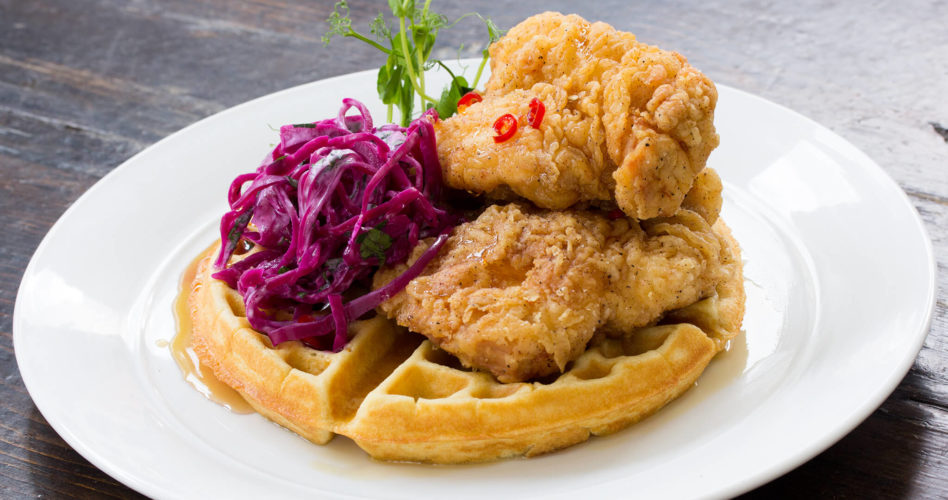 Korean fried chicken and waffle