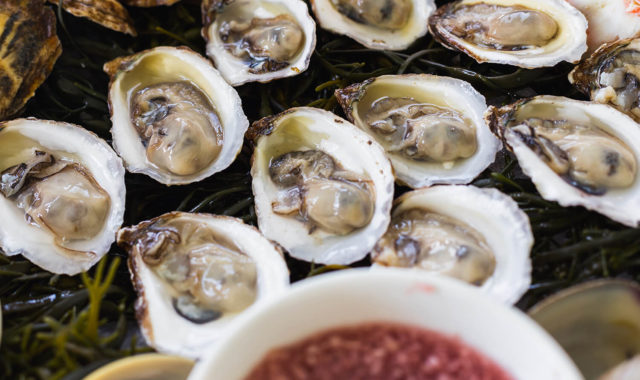 Platter of oysters and mignonette