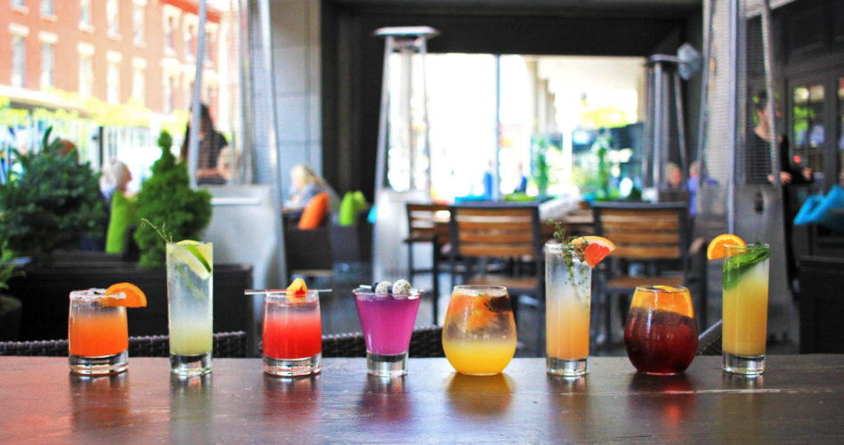 A lineup of Cafe Grill's Summer Cocktail selections on the outdoor patio bar.