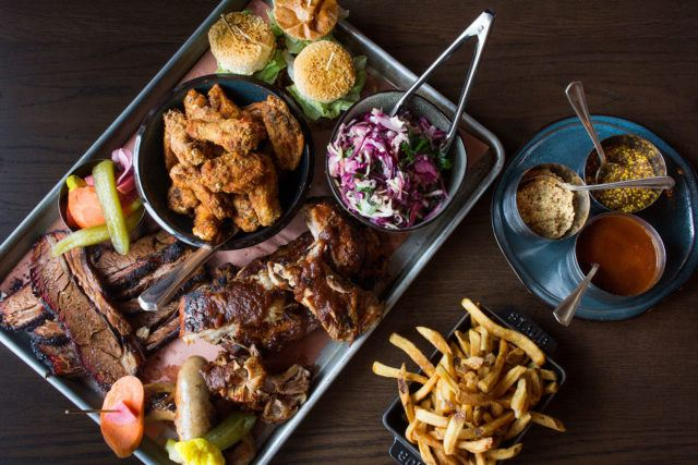 Liberty Commons BBQ Platter on wooden table