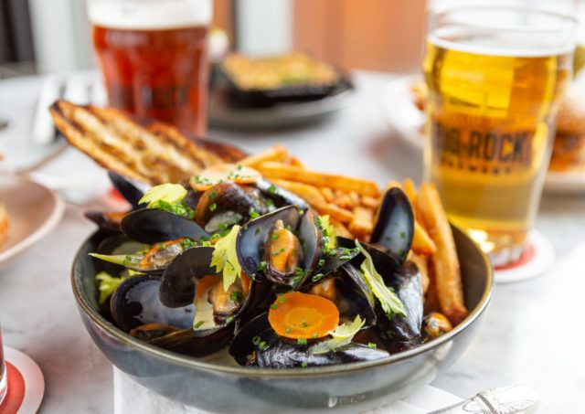 Winterlicious drunken mussels in shallow bowl at Liberty Commons