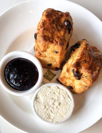 Buttermilk scones on a plate.