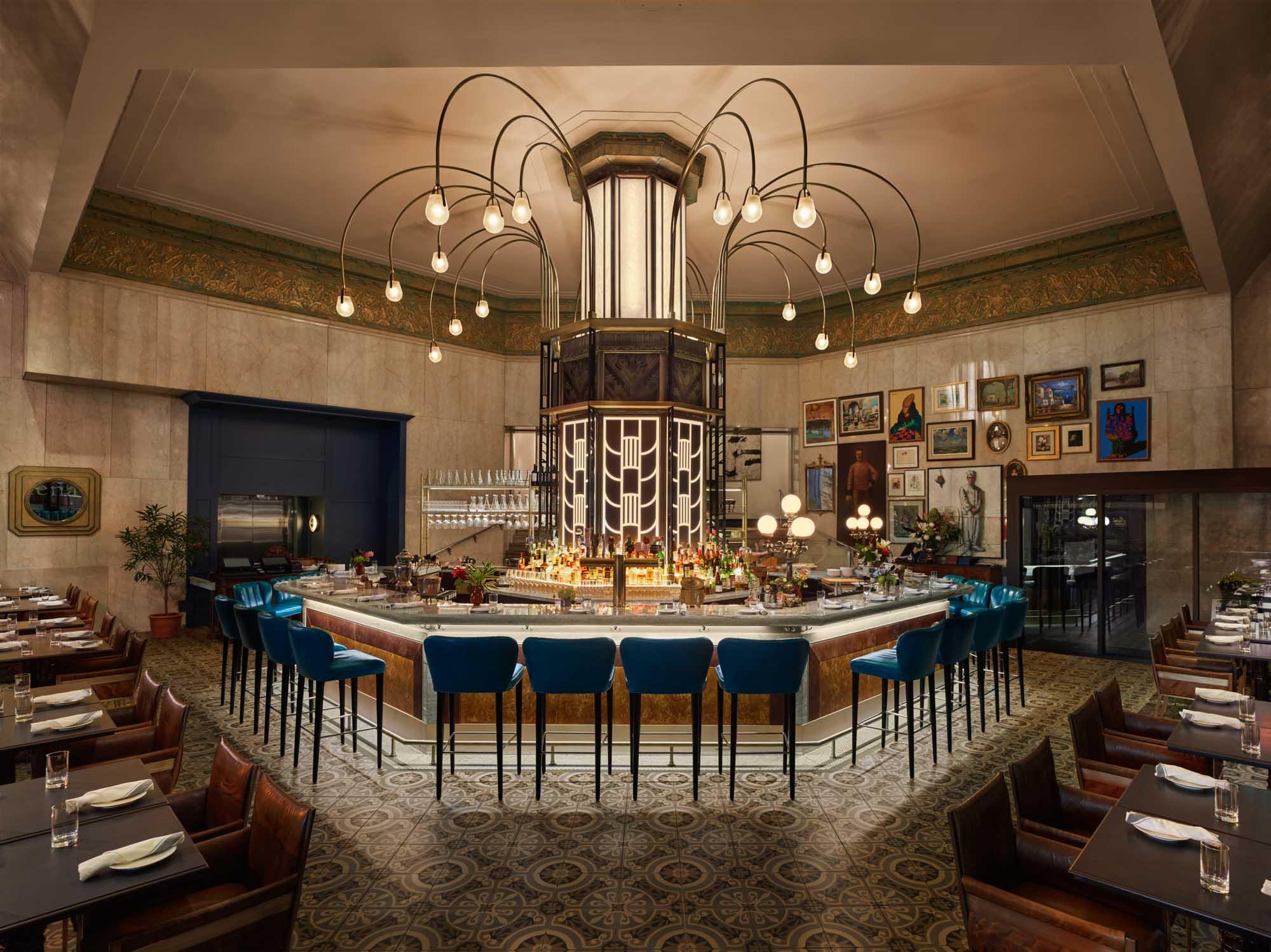 Leña's beautiful main floor bar