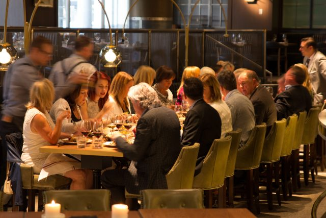 A group dining at The Guild Restaurant in Calgary