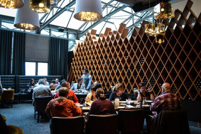 Guests enjoying dinner at a wedding at Jump Restaurant Toronto