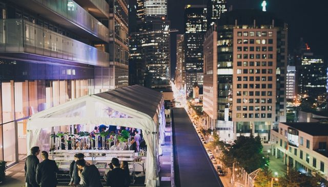 Malaparte's outdoor terrace lights up at night in downtown Toronto