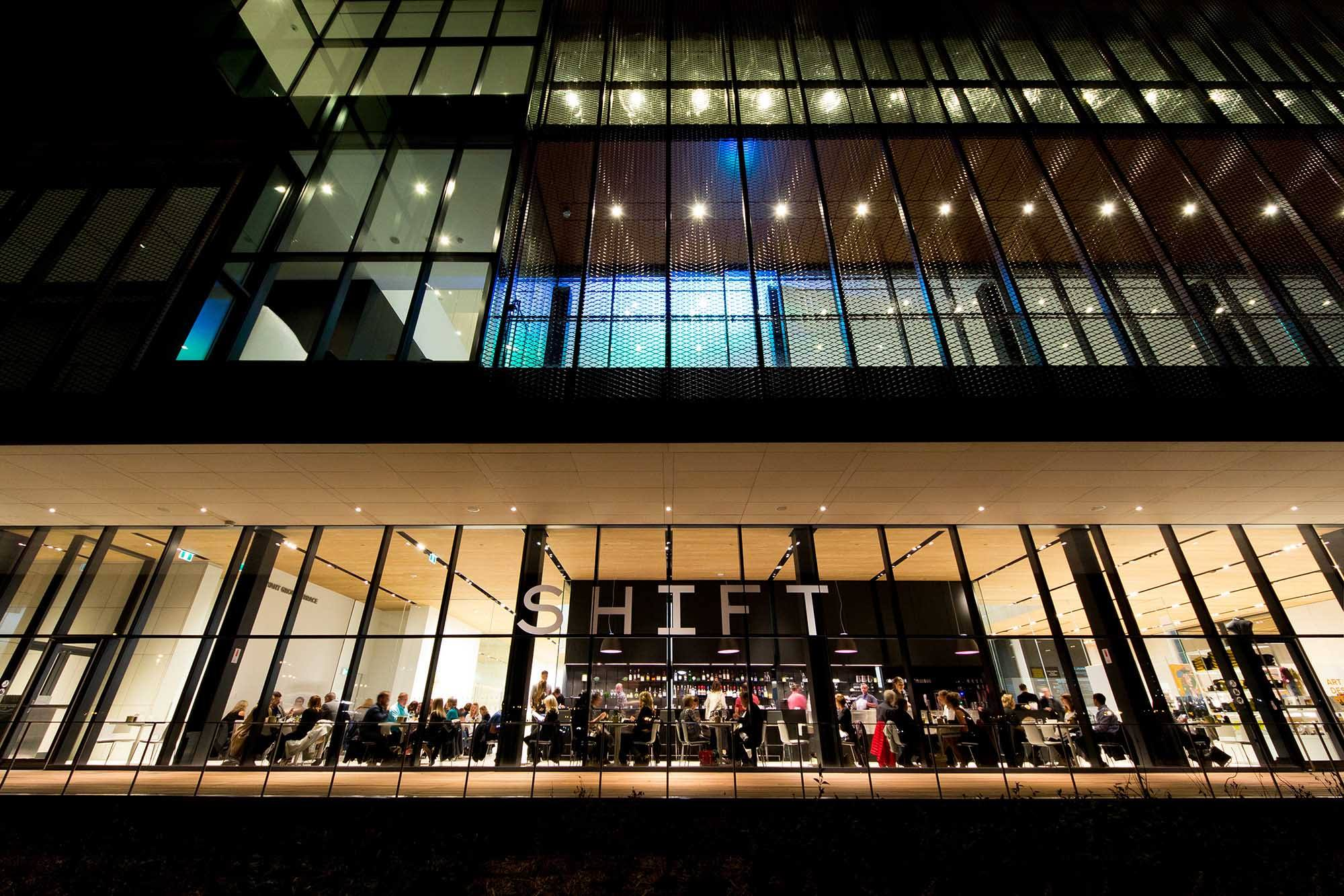 Exterior of Shift Restaurant at night