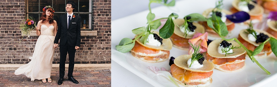 Bride, Groom and Canapes