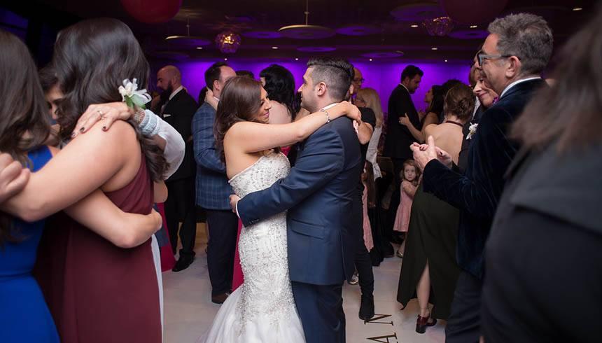 Wedding guests dancing on the dance floor