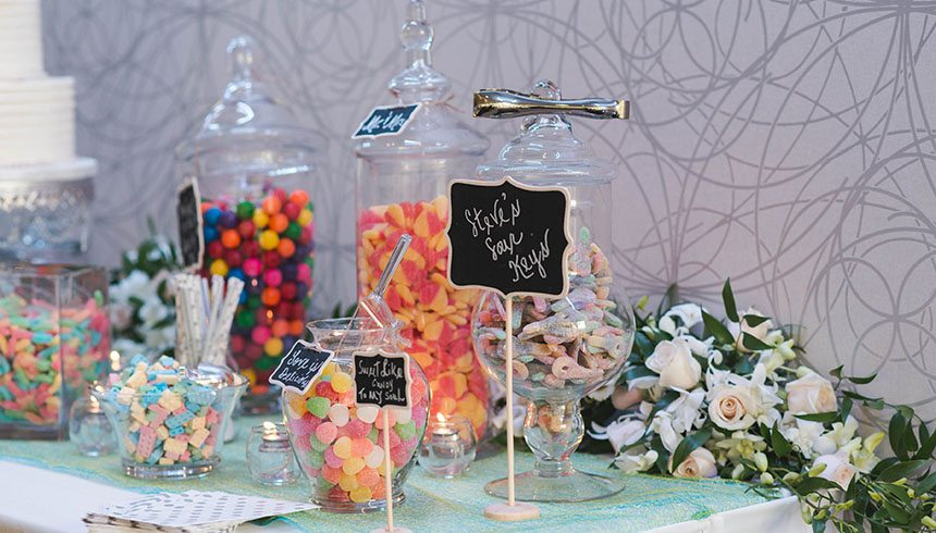 Candy on table