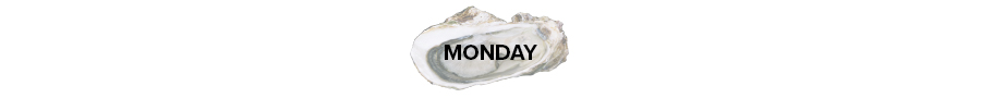 Oyster shell with the word Monday on it.