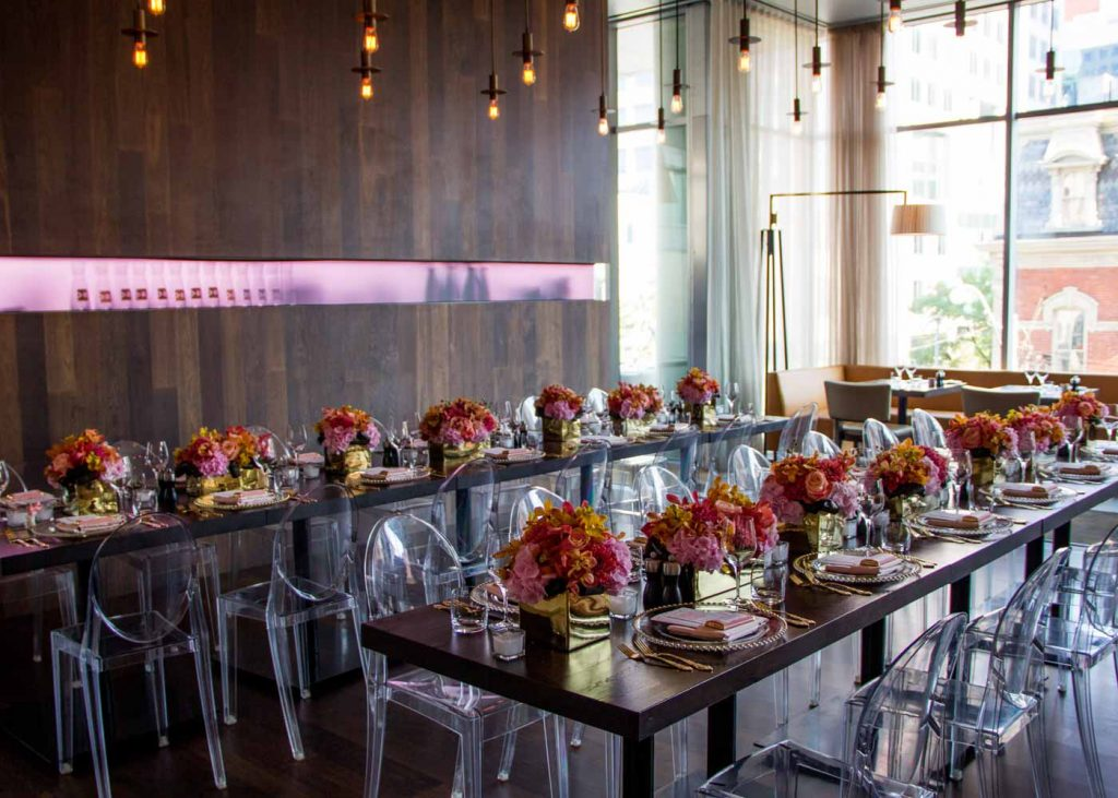 Full room shot of birthday party at Luma Event Venue