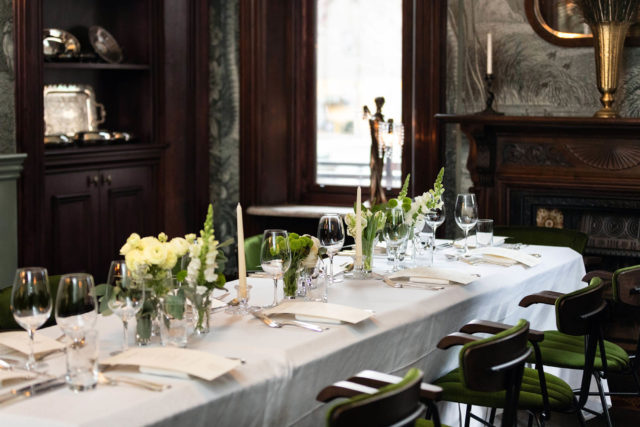 Corporate reception dining in a private dining room at Maison Selby