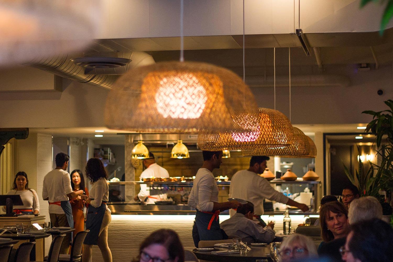 Bustling dining room at Babel restaurant
