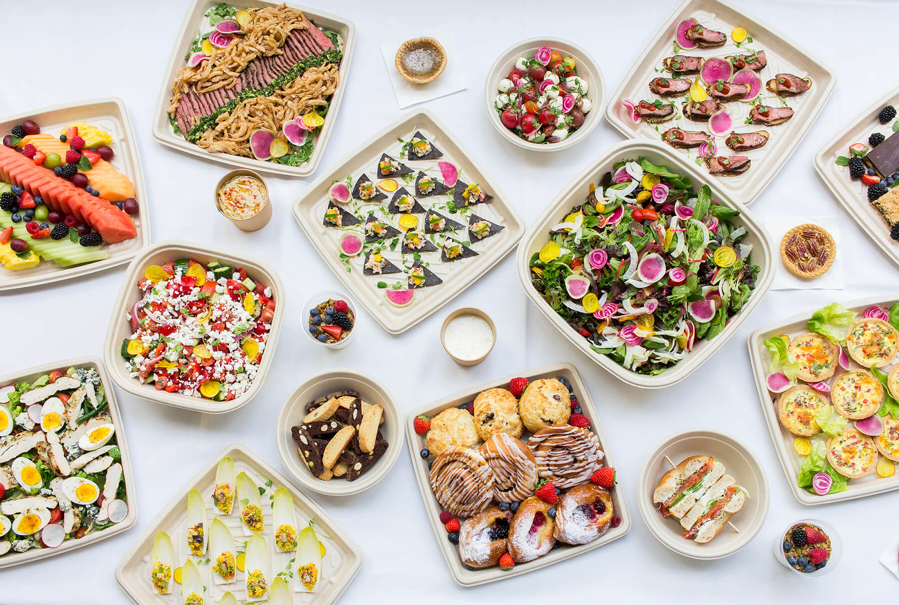 Office catering platters on a white table top