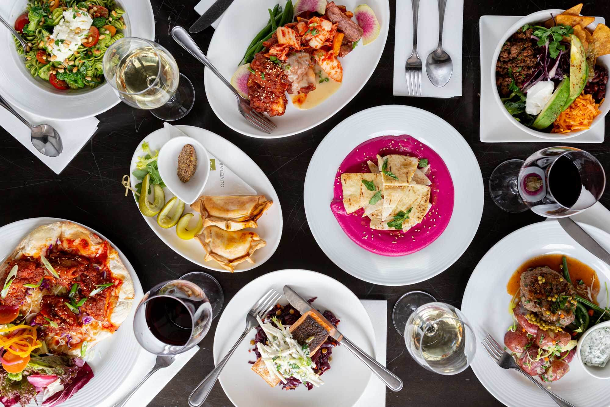 Overhead flatlay of O&B Bayview Village's Winterlicious offerings
